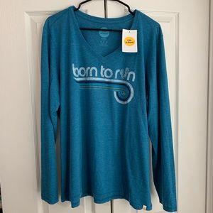Life is Good Shirt Born to Run Blue L XL NEW